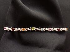Braccialetto argento 925 con pietre colorate lunghezza 20,7 cm B34