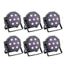 6x Flat DMX 512 LED Par Can Light RGBW Uplighting 70W Fr DJ Disco Stage Party