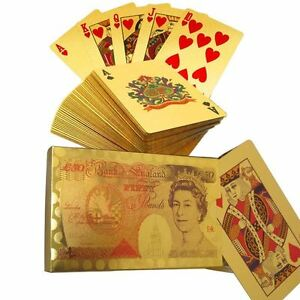 24k Pure Gold Plated Playing Cards Full Poker Pub Game Deck 50 Pounds Flexible