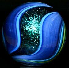 """GEOFFREY BEETEM GLASS MARBLE/1.572""""-TEAL DICHROIC CUB-SCOUT-TURQUOISE/YELLOW RIB"""