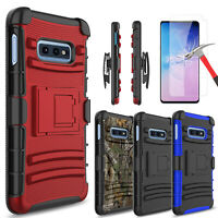 For Samsung Galaxy S10e Case With Kickstand Holster Belt Clip + Screen Protector