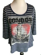 Style&Co PetitesPM London Town Graphic 3/4 Sleeve Scoop Neck Striped Shirt Multi