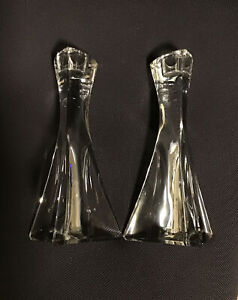 Dresden ?  Pair Heavy Lead Crystal candlesticks, TRIANGLE  star -made in Germany