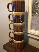 Vintage Brown Drip Stackable Stoneware 5 Piece Set Mugs Cups