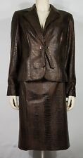 NWT Lena Gabrielle NY brown crocodile 2-piece Skirt Suit career blazer ladies 12
