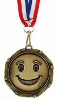 Personnalisé Smiley Visage Médaille et Ruban Gravé Gratuit (G)