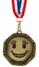 Personnalisé Joyeux Visage Médaille et Ruban Gravé Gratuit (G)