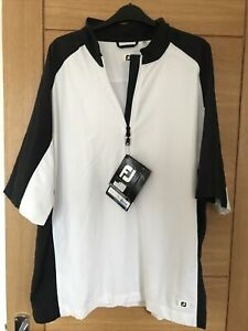Men's Footjoy FJ Sport Golf Jacket Short Sleeved Windshirt XXL White & Black Zip