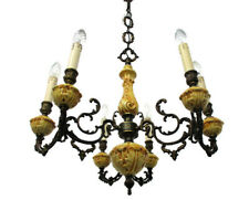Vintage Chandelier 6 arm Lights Ornate Brass Yellow Porcelain Sconces Beautiful