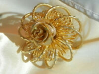 Gold Tone Rose Flower Etetnity Vintage 60's Repousse Brooch Very Lovely  126J8