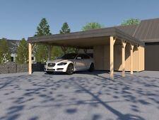 Doppel Carport Walmdach ASSEN V 600 x 800cm KVH Konstruktionsvollholz Fichte NEU