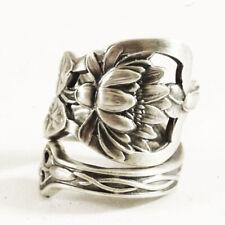 Vintage 925 Silver Women Lotus Flower Spoon Ring Handmade Jewelry Size 5-10
