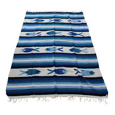 Genuine new Blue Light Blue & Turquoise Mexican fish floor rug large size blanke