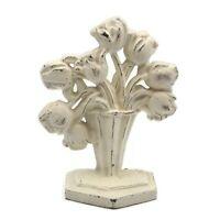 Antique Vintage Cast Iron Bouquet Of Flowers Cream Enamel Door Stop 8.25 Inch
