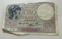 1940 France 5 Francs - World Banknote Currency