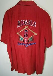 Tommy Bahama MLB Anaheim Los Angeles Angels Hawaiian Silk Shirt Men's Size XL