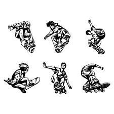 SKATEBOARDING SKATEBOARD CLIPART IMAGES -VECTOR CLIP ART-VINYL CUTTER PLOTTER CD