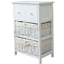 Shabby Chic Bedside 2  Wicker Basket Drawers Storage Units Bedroom Table Cabinet
