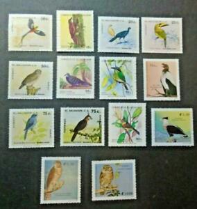 EL SALVADOR 1980-89 BIRDS STAMPS 14v MNH TOP145