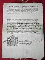 FEDE DEL REGNO DELLE DUE SICILIE RARO ANTICO MANOSCRITTO STEMMA ECCLESIALE 1800
