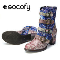 SOCOFY Women's Genuine Leather Splicing Pattern Shoes Buckle Zipper Ankle Boots