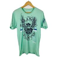 Billabong Mens T Shirt Size Medium Slim Fit Green Eagle Pattern Short Sleeve