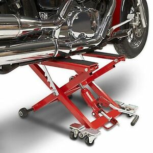 BHM Racing Motorcycle Lift Stand, Quad,  ATV jack, Hydraulic scissor stand RED