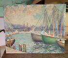 Fine Pa Impressionist Harbor Scene Oil On Canvas Painting Att. Fern I Coppedge