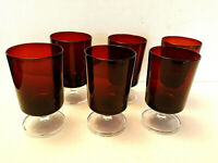 Lot 6 Luminarc Ruby Red Cavalier Wine Water Glasses Goblet Clear Pedestal France