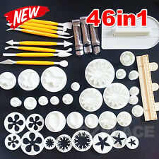 46pcs Fondant Cake Decorating Kit Cookie Mould Icing Plunger Cutter Tool AU