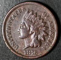1876 INDIAN HEAD CENT With LIBERTY - VF VERY FINE