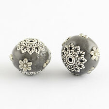 10pcs Gray Round Handmade Indonesia Beads Clay Beads with Silver Flower Cores