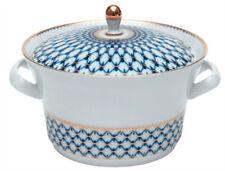 Genuine Lomonosov Russian Porcelain Cobalt Net Soup Tureen-22kt Gold MSRP-$720