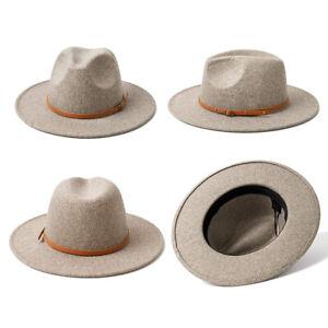 1x Wide Brim Wool Hat Belt Buckle Fedora Hats For Women Warm Cap Adjustable