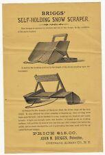 RARE Flyer Broadside  Briggs Snow Scraper Ice Tools Elevator Coeymans NY 1880