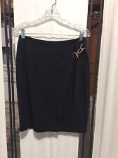 ANNE KLEIN sz 8 100% Wool Black Skirt USA Lined CLASSY