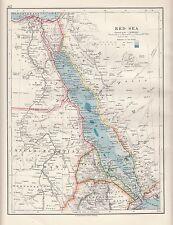 1921 MAP ~ RED SEA ~ ANGLO-EGYPTIAN SUDAN ARABIA EGYPT