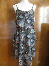 Free People women's black comb tiered lined assymetric NWT dress size 2