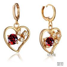 18K Gold Filled Heart Ruby Emerald Created Diamond Huggies Earrings USGM187E1