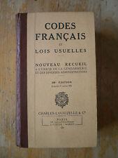 1950 Codes Francais et lois usuelles nouveau recueil à l'usage de la gendarmerie