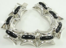 Sterling Silver Black Onyx Bracelet Large Wide Chunky Hollow 7 1/4""