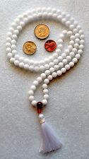 White Jade & Carnelian Handmade Yoga Mala Beads Necklace - Blessed Energized