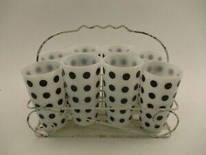 Set 8 Vintage Anchor Hocking Fire King MCM Drinking Glasses Black Polka Dot