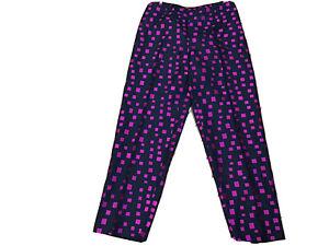 DANA BUCHMAN 100% SILK Sz 14 Pants, Black & Hot Pink, Lined Side Zip (T14-11)