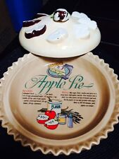 "VINTAGE Americana 11"" Handpainted Apple Pie Covered Baking Dish"