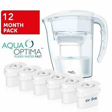 Aqua Optima White Fridge Water Filter Jug +6 Refill Cartridges fits BRITA MAXTRA