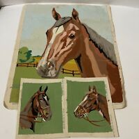 Vintage 1952 Paint By Number Spirited Stallion Horses Paintings on Canvas