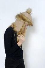 Ladies Girl Faux Suede Deep Fur Trim Bobble Hat Trapper & Beanie Russian Cossack 3) Beige