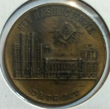 New Masonic Temple Detroit Michigan medal - Corner stone laying Sept 18, 1922