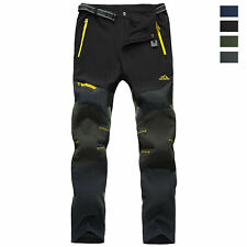 Men's Softshell Waterproof Pants Outdoor Hiking Climbing 5 Zip Pockets Trousers